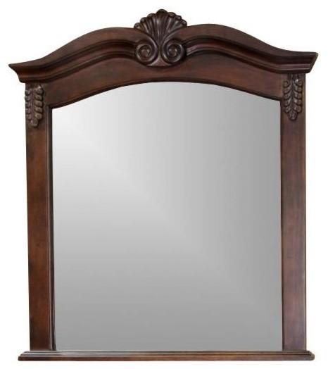 Bellaterra Solid Wood Frame Mirror, Walnut 202016A-Mirror by Bellaterra Home
