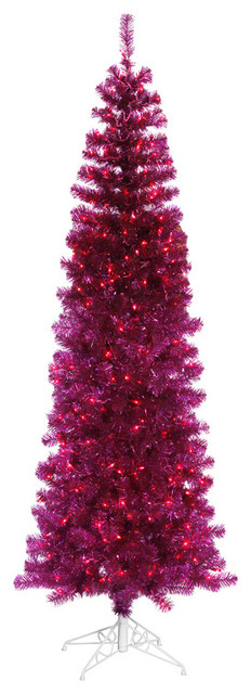 Pink Artificial Christmas Tree.Pre Lit Sparkling Fuchisa Pencil Artificial Christmas Tree Pink Lights Pink