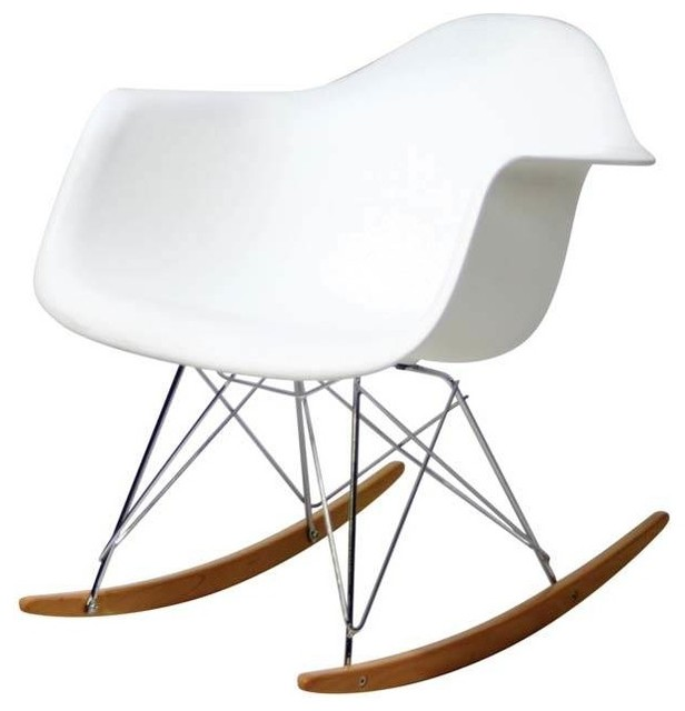 rocking chair in white molded plastic
