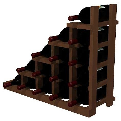 Portland Wine Rack, Redwood And Dark Walnut.