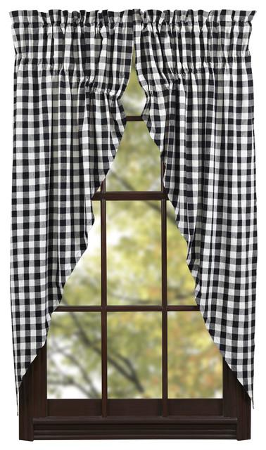 Buffalo Black Check Prairie Curtain Set Of 2 Farmhouse