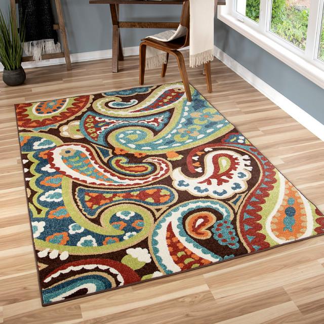 """Orian Veranda Indoor/Outdoor Paisley Area Rug, Multicolor, 7'8""""x10'10"""""""