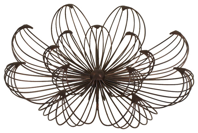 Small Flower Petal Black Metal Wire Wall Art Indoor Accent Decor  transitional-metal-wall