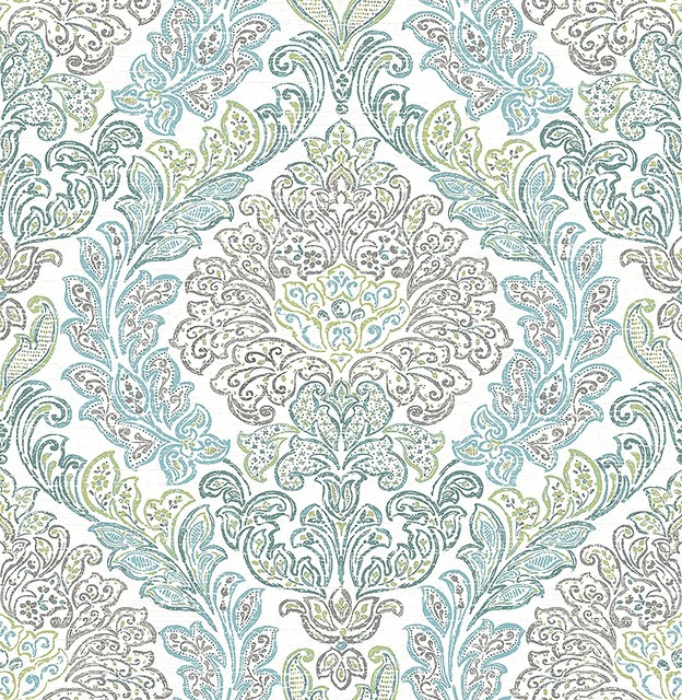 Mirabelle Fontaine Teal Damask