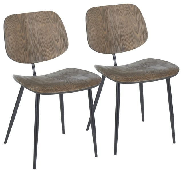 Wilson Chair, Set of 2, Black Metal, Espresso Wood