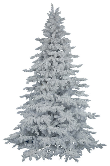 Flocked White Spruce Tree - Contemporary - Christmas Trees - by ...