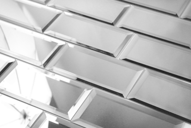 Silver Peel and Stick Mirror Glass Subway Tile, Sample  contemporary-wall-and-