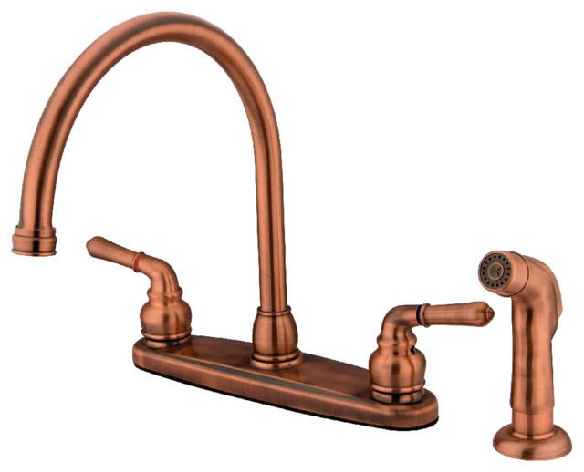 """Kb796sp 8"""" Centerset Kitchen Faucet, Antique Copper."""