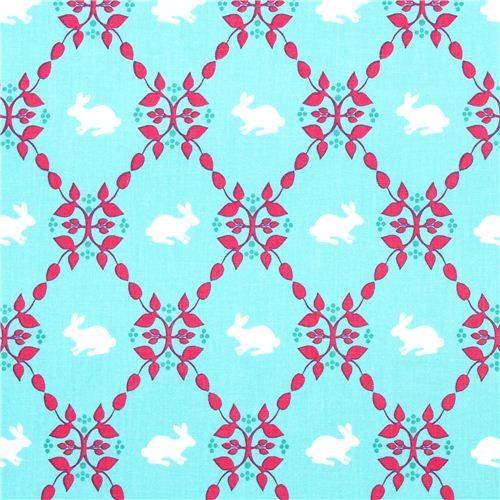 turquoise fabric with rabbit leaves Robert Kaufman