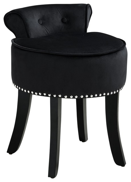 Ludovic Velvet Contemporary Nailhead Trim Rolled Back Vanity Stool ...