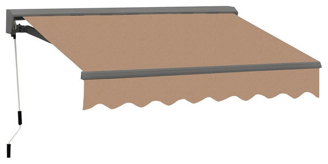 10 Ft Classic Semi-Cassette Easy-Pitch Retractable Awning, Canvas Umber.