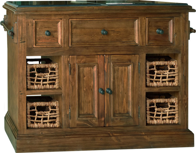 Large Kitchen Islands With Granite Top Hillsdale Tuscan Retreat Large Granite Top Kitchen Island, Black - Tropical  - Kitchen Islands And Kitchen Carts - by HedgeApple