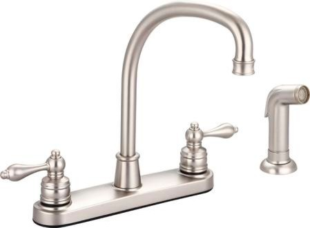 """Banner """"j"""" Spout Kitchen Faucet With Side Spray, Brushed Nickel."""