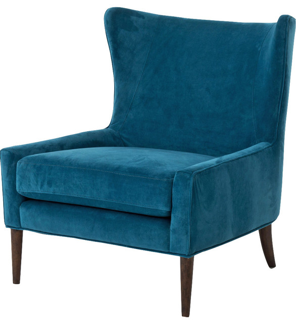 Perfect Blue Velvet Accent Chair Decoration
