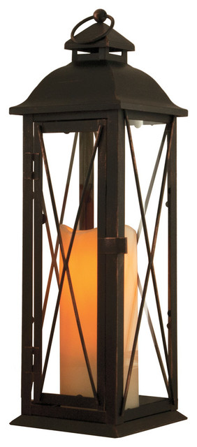 "Smart Solar Antique-Style Brown Aversa LED Candle Lantern, 16"" traditional-candleholders"