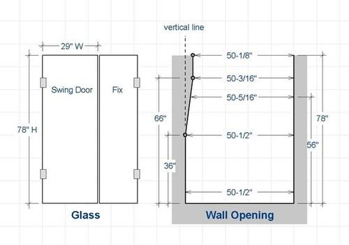 sc 1 st  Houzz & Frameless shower door on a non-plumb wall