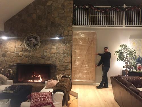 Whitewashing Stone Fireplace