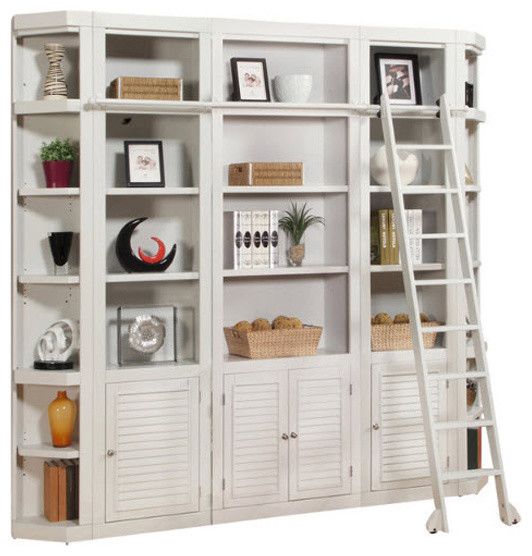Parker House, Boca 5-Piece Library Bookcase Wall Unit, Cottage White Finish.