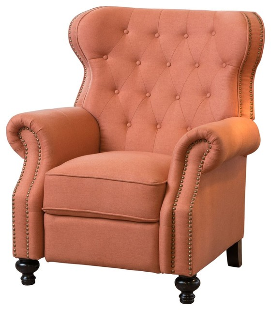 Waldo Tufted Back Studded Accent Recliner Armchair Orange traditional- recliner-chairs  sc 1 st  Houzz & Waldo Tufted Back Studded Accent Recliner Armchair - Traditional ... islam-shia.org
