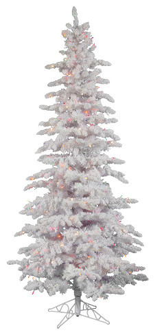 12 pre lit flocked spruce slim artificial christmas tree multi led white - Slim Christmas Tree With Led Lights