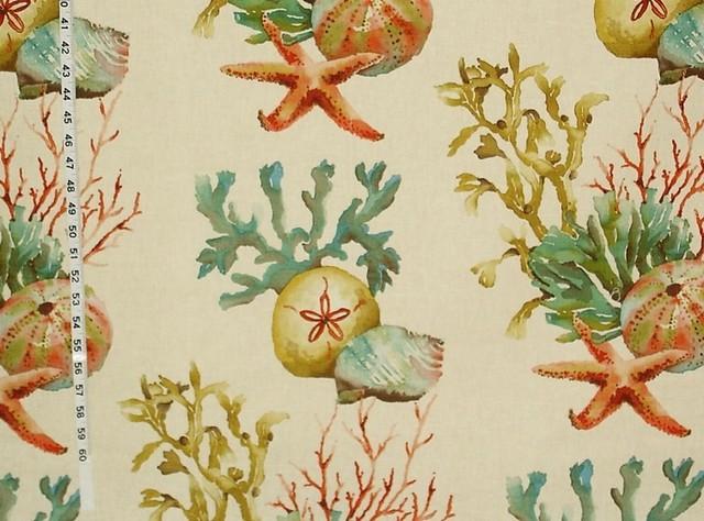 Coral fabric sand dollar seashell starfish reef, Sample