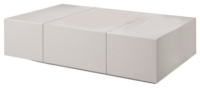 P592a Modern Coffee Table In Light Gray High Gloss Finish
