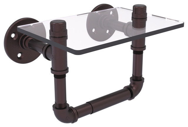 Pipeline Collection Toilet Tissue Holder With Glass Shelf
