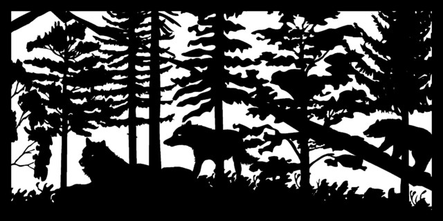 "Two Wolves And Bear Panel, 30""x60""."