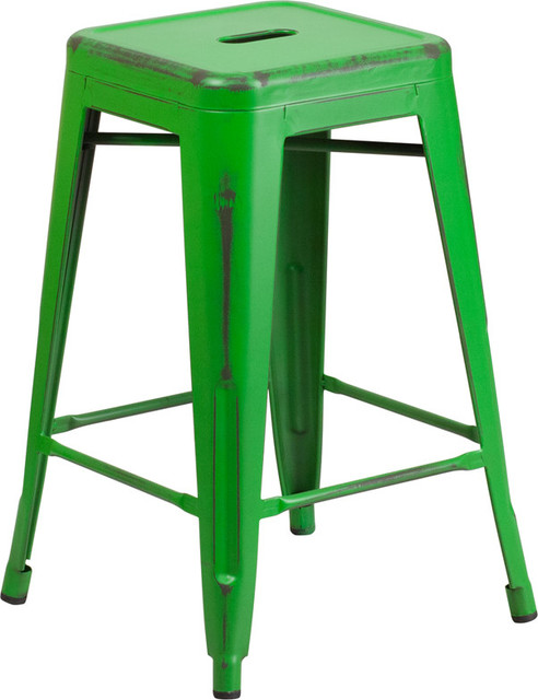 Marias Vintage-Style Metal Counter Stool Distressed Green 24  contemporary-bar  sc 1 st  Houzz & Flash Furniture 24