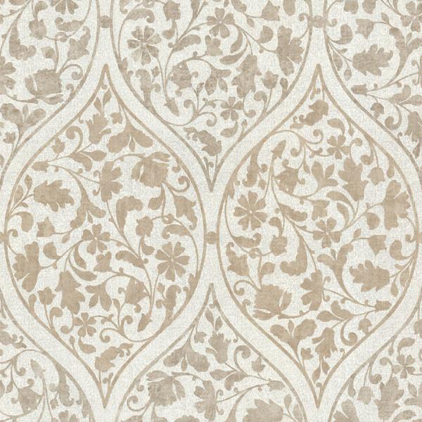Adelaide Light Brown Ogee Floral Wallpaper Bolt