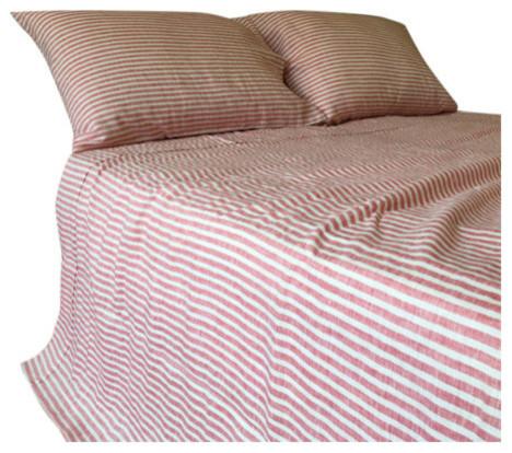 Red And White Striped Linen Sheet Set Handmade Natural Linen