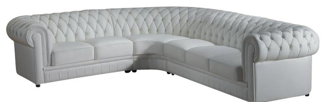 Paris 1 White Bonded Leather Victorian Style Sectional Sofa With Tufted  Design Sectional Sofas