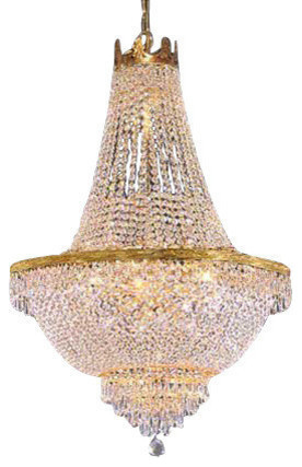 """French Empire Crystal Chandelier 14-Light, 50""""x30"""", Gold"""
