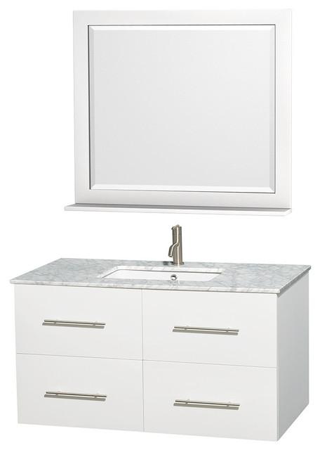 42 Single Bathroom Vanity Countertop Undermount Sink Mirror Contemporary Bathroom