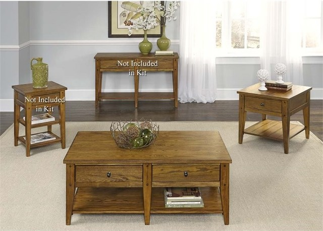 Liberty Furniture Lake House 3-Piece Coffee Table Set, Oak.