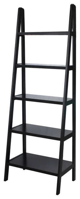Mabel 5-Shelf Ladder Bookcase, Espresso.