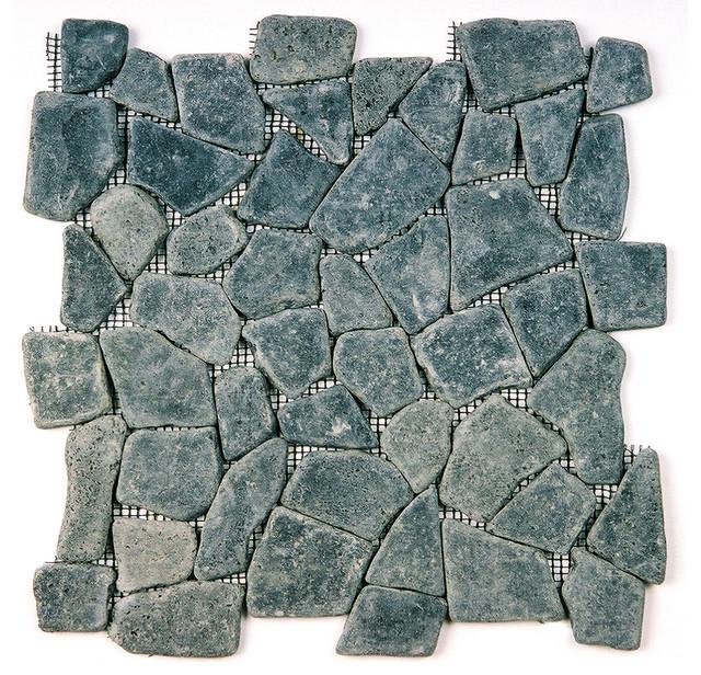 12 X12 Lava Black Flat Mosaic Pebble Tile