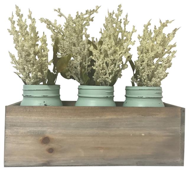 Mason Jar Planter Box, White