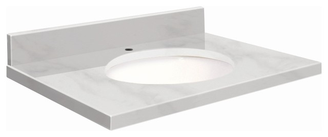 Natural Marble 37x22 Vanity Top White Carrara White Bowl