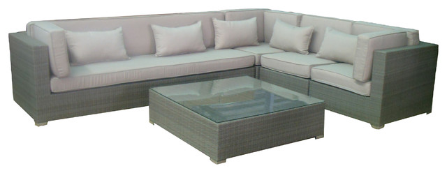 Olivia Outdoor Wicker Sectional Set, Gray Wicker And Natural Fabric  Contemporary Outdoor Sofas