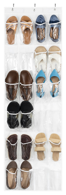 Over The Door Shoe Organizer, 24 Stitch-Secured Pockets, Clear.