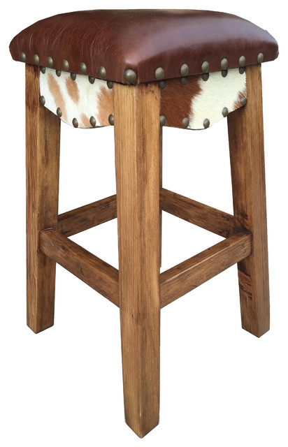 Canyon Stool With Leather Southwestern Bar Stools And