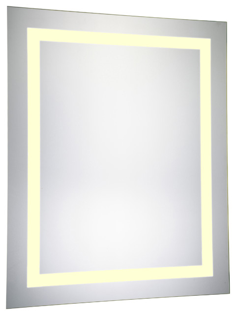 LED Electric Mirror Rectangle 24x30 Dimmable 3000K Contemporary Bathroom Mirrors