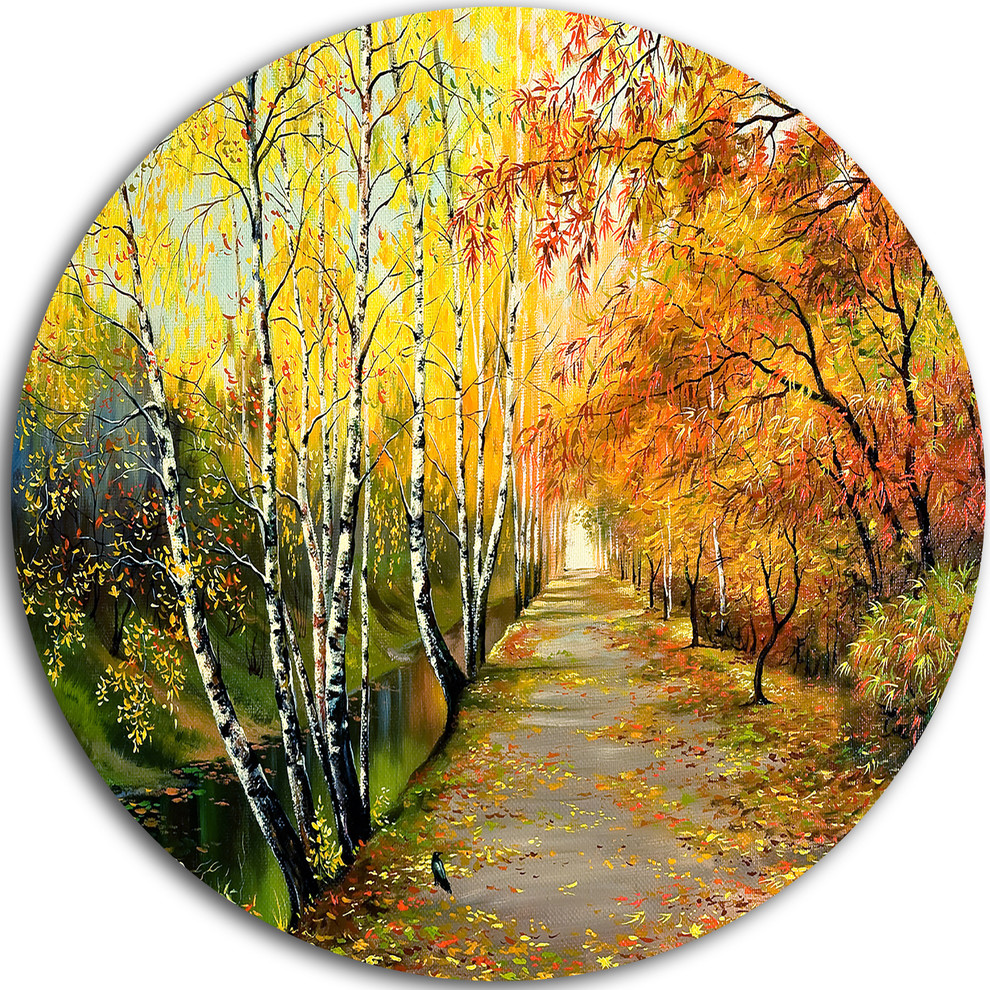 Designart Green Forest Glade-Landscape Round Wall Art Disc of 23 23 H x 23 W x 1 D 1P