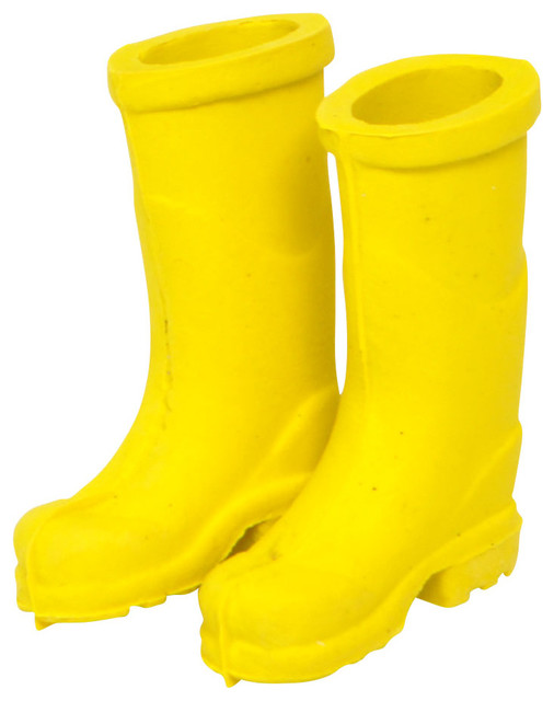 Miniature fairy garden yellow rubber rain boots rustic