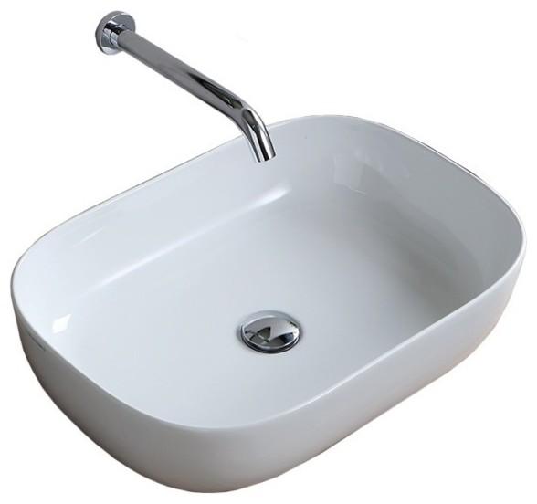 22 Oval White Ceramic Vessel Sink.