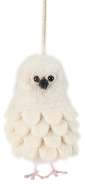 Snowy Owl Christmas Ornament Hand Felted Wool Farmhouse