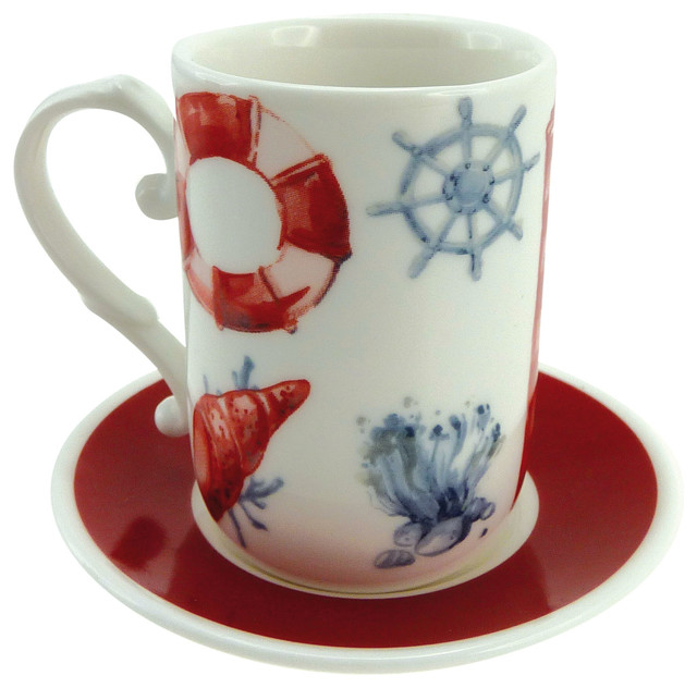Marine Anchor Coffee Cups, Set of 6