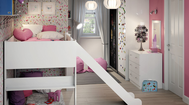 Children S Bedroom With Sliding Chalkboard Whiteboard Wardrobe Contemporary