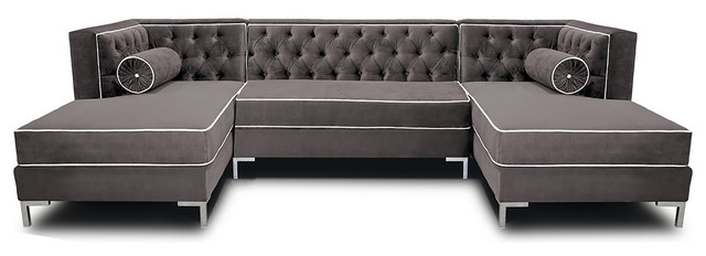 Decenni Tobias 10 Foot Double Chaise U Shape Tufted Sectional Cosmic Grey